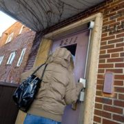Someone knocking on the door of St. Stephens Rectory showing that homeless shelters are swamped in these winter days.