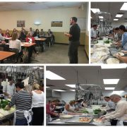 Four images of United Health Group volunteering at the House of Charity Food Centre: orienting the group, preparing the food, serving the food.